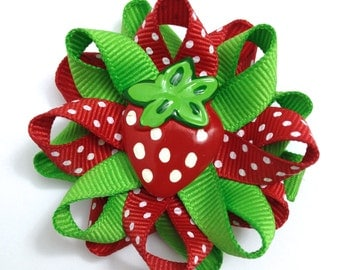 Red & Green Strawberry Hair Bows
