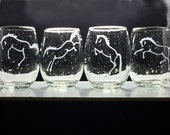 HORSES PLAYING in the RAIN >Unique Etched Boxed Set of 4 Stemless Wines for Any Horse Enthusiast-Dressage,Hunter Jumper, Western, Saddleseat