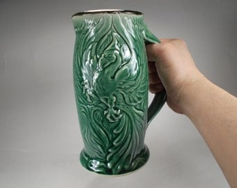 Phoenix Beer Stein - Emerald Green Glaze Handcrafted Stoneware Pottery Original Design Made in USA Great Renaissance Mug or for Home Bar