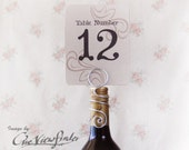 Wine Bottle Table Number Holder,Wire Place Card Holder, Escort Card Holder,  From Set of 5 pcs onwards