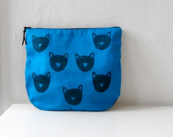 Blue Cat Clutch / Zipper Pouch /  Blue /  Gift for cat lovers