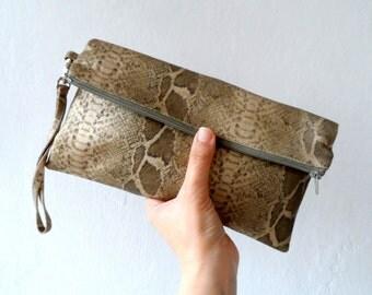 Women Clutch, Gold Snake Skin Clutch  purse, Zip Pouch, wristlet,