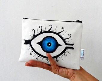 Mystic Evil Eye Zip Bag,  cosmetic bag, pencil case/ christmas gift for her