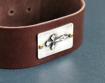 CLEARANCE Mens Leather Cuff Bracelet Silver Cross Adjustable