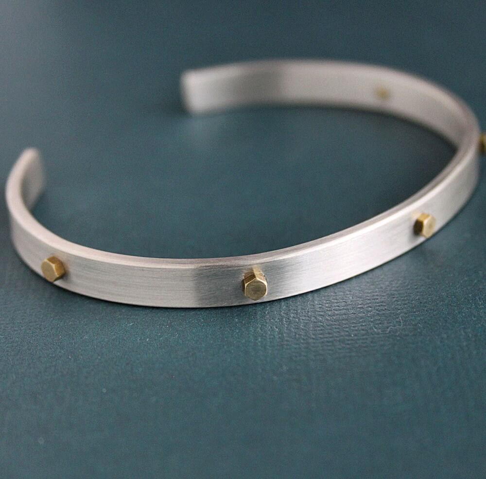 Mens Rivet Cuff Bracelet Sterling Silver and Brass