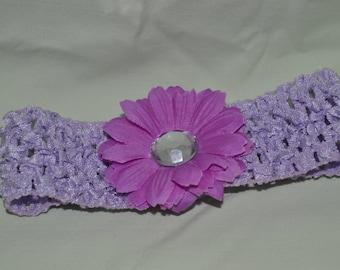 Light Purple Crochet Headband with Attached Purple Flower