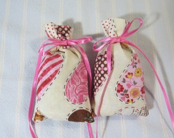 Valentine Ivory Sachet-'YC Vanilla Sandalwood(type)' Fragrance-Pink Heart Sachet-Pink Ribbon-Cotton Fabric Botanical Sachet-Cindy's Loft