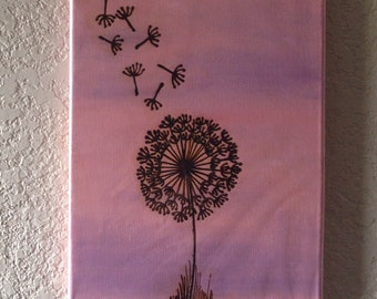 Dandelion Painting Henna Art, Mixed Media with Henna on Acrylic, Dandelion- OOAK- Unique Global Art