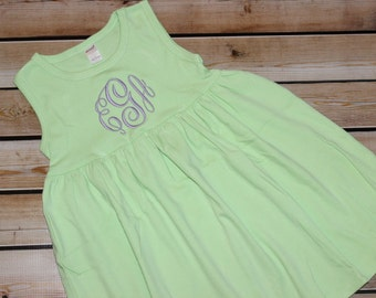 Personalized Monogram APPLE GREEN Dress or Bathing suit Coverup