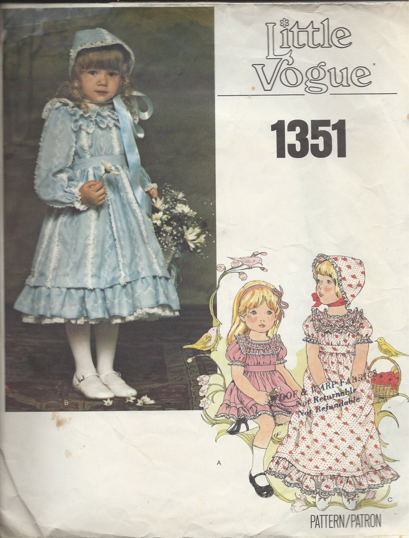 1970s vogue childrens 39 pattern no 1351 flower girls dress for Victorian style wedding dress pattern