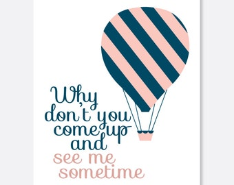 Come Up and See Me Greeting Card, Missing You Card, Hot Air Balloon Card, Simple Greeting Card, Cute Greeting Card, Love Greeting Card