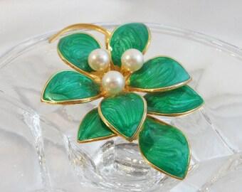 Vintage Flower Brooch. Green Swirl Enamel. Three Faux Pearls.