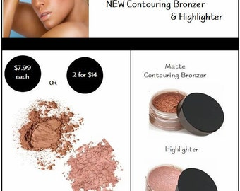 Contouring Bronzer & Highlighter for Strobing ~ Long Lasting Makeup for Oily Skin by Mattify Cosmetics
