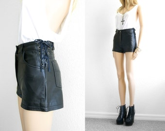 Leather Shorts High Waist Shorts Black Leather by 2treasurehunt