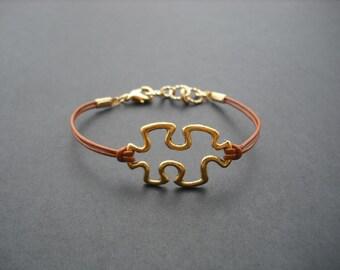 16K gold plated bracelet, puzzle piece bracelet