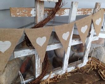 Heart appliqué pennant banner, love bunting