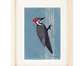 PILEATED WOODPECKER Linocut Reproduction Art Print: 4 x 6, 5 x 7