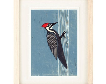 PILEATED WOODPECKER Linocut Reproduction Art Print: 4 x 6, 5 x 7