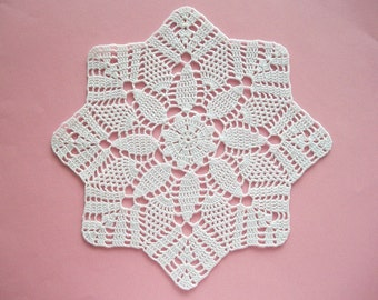 Crochet Doily Medium White Cotton Handmade Lace Table Topper Heirloom Quality