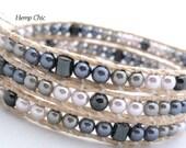 Handmade Triple Wrap Bracelet, Hemp Wrap Bracelet with Three Shades of Gray Glass Pearls and Hematite