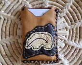 Handmade acorn colored Deerskin Leather Business / Credit Card Holder with a Bear design on the front