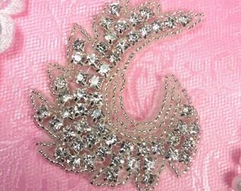 "JB170 Crystal Rhinestone Curl Designer Silver Beaded Applique 3"" Hot Fix Iron on (JB170-slcr)"