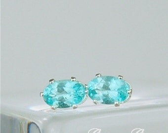 Apatite Stud Earrings Sterling Silver 6x4mm 1.10ctw