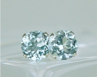 Sky Blue Topaz Stud Earrings Sterling Silver 5mm Round 1.40ctw