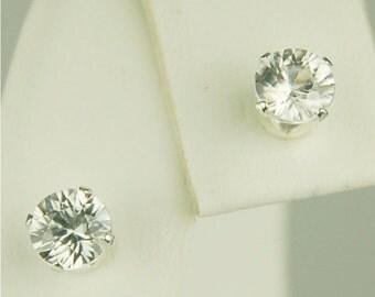 White Zircon Stud Earrings Sterling Silver 5mm Round 1.20ctw Diamond Cut