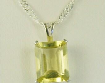 Lemon Quartz Necklace Sterling Silver 10x8mm 3ct Emerald Cut