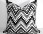 Black White Outdoor Pillow Cover, Modern Grey Chevron, Decorative Geometric Throw Pillow Case, Masculine Gray Sunbrella Cushion Cover