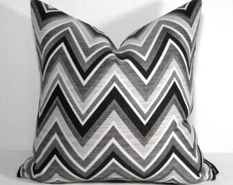 Sale - PAIR Black White Grey Outdoor Pillow Cover, TWO Modern Chevron Pillow Cover, Decorative Pillow Cover, Gray Sunbrella Cushion Cover