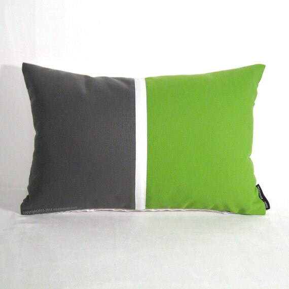 Modern Gray Pillows : Green & Grey Pillow Cover Modern Outdoor Pillow by Mazizmuse