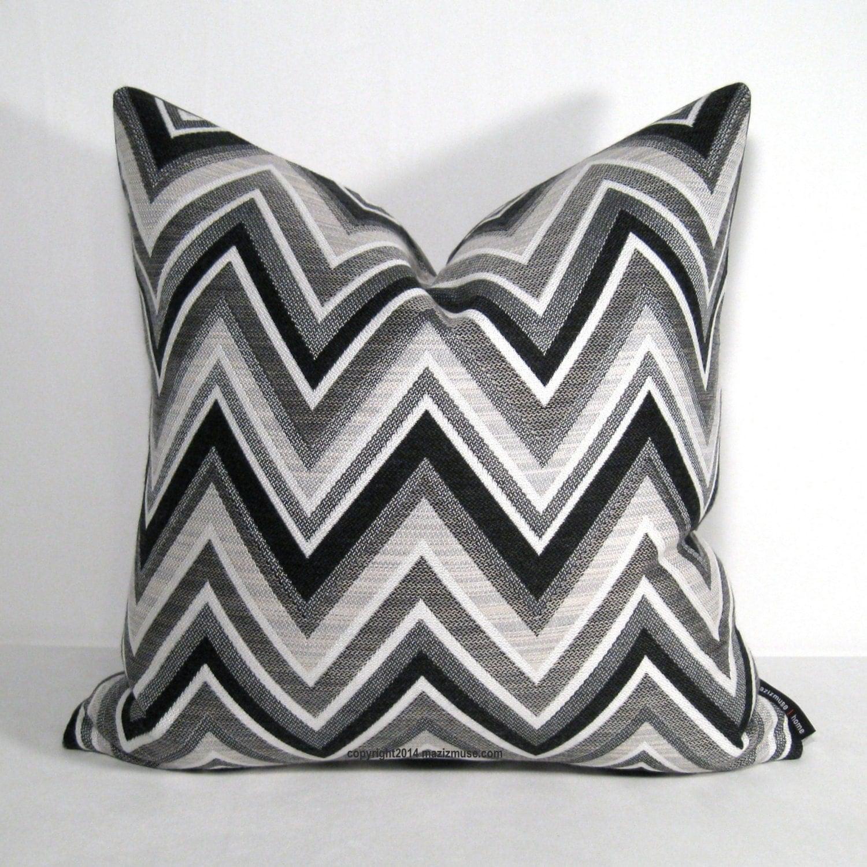 black white grey outdoor pillow cover modern chevron pillow. Black Bedroom Furniture Sets. Home Design Ideas