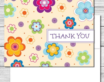 Thank you Notes--Bright Fun Flowers