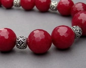 Bead Necklace Faceted Cranberry Red Quartz with Ornate Bali Sterling Silver Spacers and Sterling Silver Toggle Clasp
