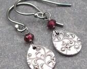 Birthstone Dangle Earrings Garnet Gemstone and PMC Fine Silver with Sterling Silver Ear Hooks