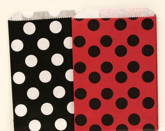 Paper Bags, 24 Assorted Party Favor Treat Bags, Pirate Party Favor Bag, Lady Bug Party Paper Favor Bag, Birthday Party Favor Bags, Candy Bag