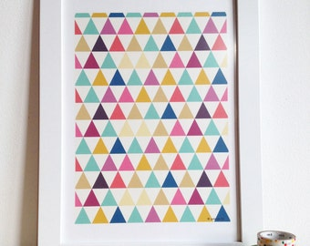 Geometric Poster - Geometric Pattern Art print - decor for your home  size A4 - Idea for a christmas gift