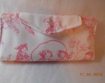 Pink Toile Checkbook Cover , Vinyl Insert, Coupon, Wallet, Organizer Case, Rewards Card