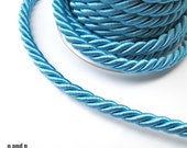 Twisted silk cord, 9mm, turquoise satin cord, 1 meter