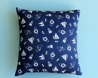 Anchor pillow, Nautical Sailboat Pillow Cover, navy blue pillow cover