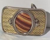 Vintage Brass & Tigers Eye Belt Buckle