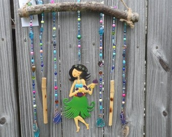 Sparkling Glass Beaded Branch Suncatcher Windchime Indoor Outdoor Art Copper Wrapped Sea Glass Hula Girl Centerpiece
