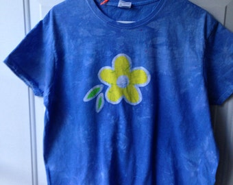 Batik Flower Shirt (XL), Blue Flower Womens Shirt, Batik Ladies Top, Batik Womens Top, Batik Flower Shirt, Yellow Flower Shirt, Batik Shirt