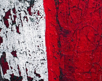 Red Shift 2 - Deteriorated Surface Abstract Square Fine Art Photo Print - Gallery Quality Wall Art Mounted or Unmounted, Various Sizes