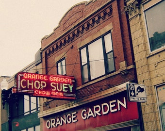 Chicago Photography, Lincoln Square, North Center, Chop Suey, vintage neon sign, Art Deco, red, restaurant, silver, Chinese food, wall art