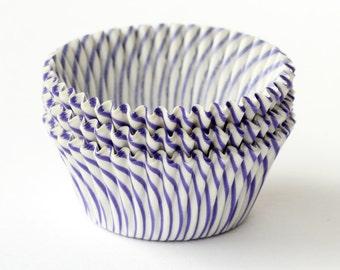 50 Purple Stripe Cupcake Liners, Thin Stripe Baking Cups, Halloween Cupcake Liners, Carnival Stripe Cupcake Liners