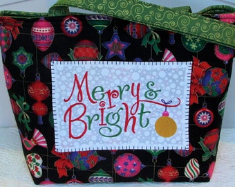 Merry and Bright Large Tote Bag  Holiday Purse Christmas Shoulder Bag Ready To Ship
