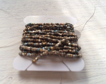 antique VINTAGE French steel bead strand mixed tones supplies trim pursre repair